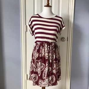 Burgundy and White Game Day Dress